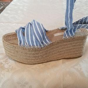 Zara Blue and White wrap around Platform Sandals